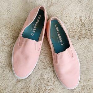 Pink slip on converse